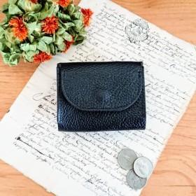voile.三つ折り財布/コンパクト財布/本革ウォレット/ミニ財布/ブラック