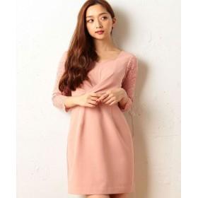(GeeRa/ジーラ)袖レース使いドレス/レディース ピンク