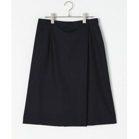 【送料無料】<ニューヨーカー/NEWYORKER 大きいサイズ> 大きいサイズ CERRUTIオンブレーチェックラップ風スカート ネービーブルー(75)【三越・伊勢丹/公式】