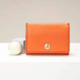 トプカピ TOPKAPI 角シボ型押し・三つ折りミニ財布 (オレンジ)