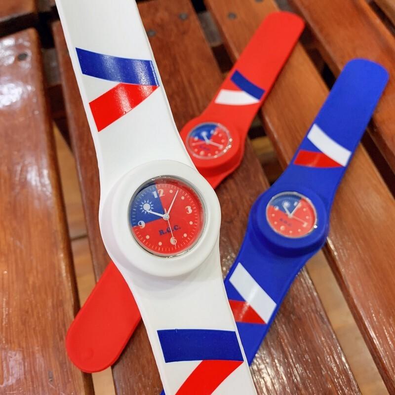 愛國小物大搜集-國旗捲尺拍拍錶(1pcs) -紅/藍/白 三色可供選購 -國旗手錶