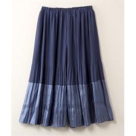 バイカラー消しプリーツワイドパンツ【INCEDE】 (大きいサイズレディース)パンツ,plus size, Pants, 子, 子