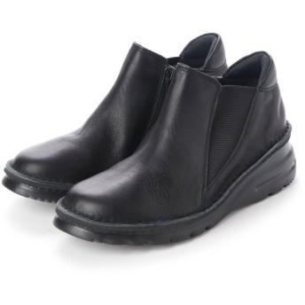 ユリコ マツモト yuriko matsumoto ブーツ ショートブーツ 本革 日本製 ファスナー ゴム 外反母趾 4E (BL)