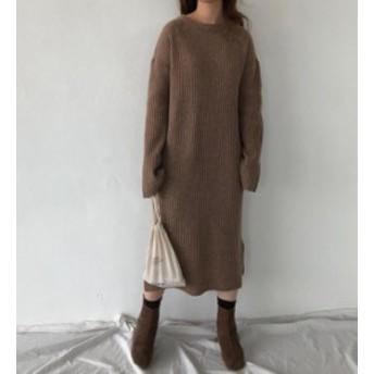 韓国 ファッション レディース ワンピース ニット セーター ロング ミモレ リブ 長袖 ゆったり スリット 大人可愛い カジュアル シンプル