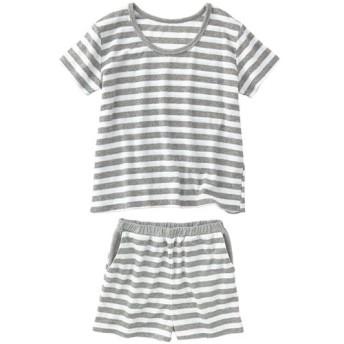 40%OFF【レディース】 パイルボーダー柄パジャマ(半袖・ショートパンツ) - セシール ■カラー:グレー ■サイズ:3L