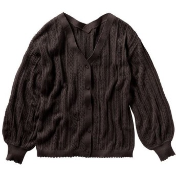 50%OFF【レディース】 透かし編みカーディガン - セシール ■カラー:チャコールブラウン ■サイズ:S