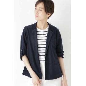 ◆麻/ポリエステルジャージージャケット ネイビー A1