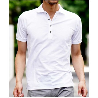 MICHEL KLEIN HOMME ポロシャツ(COOL MAXサッカー) Tシャツ・カットソー,ホワイト