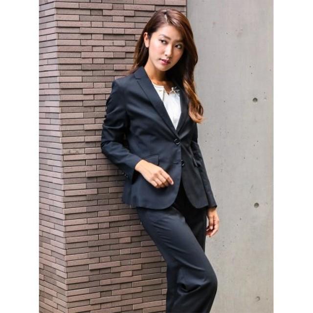 (TAKA-Q/タカキュー)ストレッチウォッシャブル3ピーススーツ(テーラージャケット+タイトスカート+ストレートパンツ)黒無地/レディース ブラック