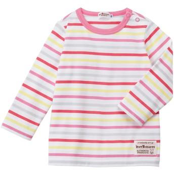 ミキハウス 【アウトレット】ボーダー長袖Tシャツ 赤×ピンク