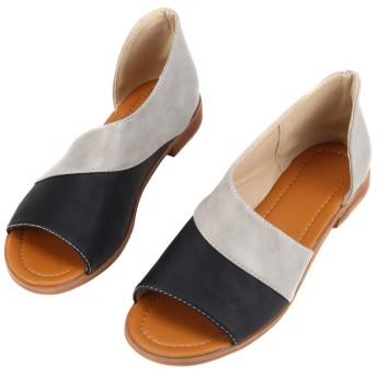 [LOCKYOU] 女性のカジュアルなのぞき見つま先プレーンフラットサンダルロースクエアヒール足首スリッパ靴ビーチ用