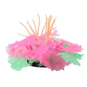 人工サンゴ植物 非毒性 水族館装飾用品 人工水草 魚タンクデコレーションファッショナブル 美しい シリコンエミュレーションサンゴ 水族館リーフ飾り(ピンク)