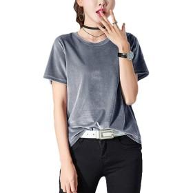 Kankanluck レディースティープラスサイズベルベットルーズカジュアル半袖ブラウスシャツ Grey M