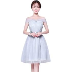 XFentech 女性のドレス - 結婚式 イブニング プロム パーティードレス フォーマル 披露宴ドレス 利用可能な5つのスタイル, グレー-1/XL