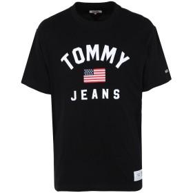 《セール開催中》TOMMY JEANS メンズ T シャツ ブラック S コットン BCI 100% TJM USA FLAG TEE