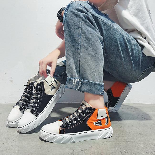 FOFU-帆布鞋低筒潮流個性卡通爆款男帆布鞋【08B-S0319】