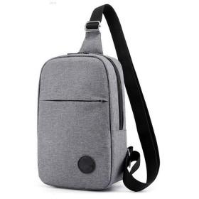 Kegiani ボディーバッグ メンズ 斜め掛け バッグ ワンショルダー キャンバス 肩掛け USB充電ポート イヤホン穴付き グレー