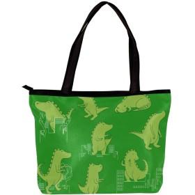 CHENYINAN トートバック ハンドバッグ レディース PUレザー サイズ選択可 人気 動物柄 恐竜 緑 ショルダーバッグ 大容量 肩掛け 通勤 通学 おしゃれ かわいい