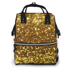 万洋 最新旅行 通勤 個性的 多機能レジャーバッグ リュック マザーズバッグ ベビー用品収納 出産準備 防水盗難防止ポケット シンプル大容量手提げ袋 かわいい -ゴールドスパンコールキラキラプリント
