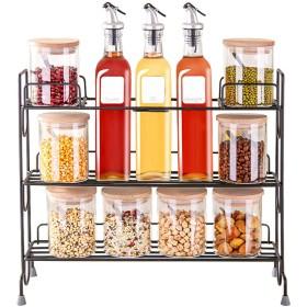 JANSUDY 家庭用ガラスオイルポットソリッドシーズニングボトルスパイスジャーセット貯蔵用油/醤油/塩/砂糖/クミン