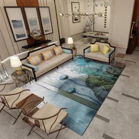中国風の敷物、東洋のエレガントなリビングルームカーペットソファクッションコーヒーテーブルマット研究風景カーペット-簡単に掃除