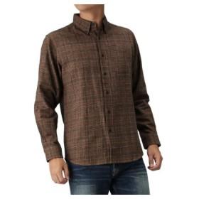 (MAC HOUSE/マックハウス)Navy フランネルシャツ チェック ボタンダウンシャツ NG195-MF020/メンズ ブラウン