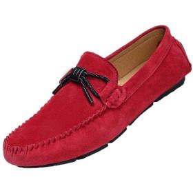 [ヤク] カジュアルシューズ メンズ靴 スリッポン 23.5 24.0 27.0cm ドライビングシューズ スニーカー メンズ モカシン 紳士靴 ローファー 歩きやすい ファッション 男性 散歩 日常 26.0cm 通勤 レット 運転靴 デッキシューズ ビット靴 黒 赤