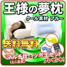 「クール生地」 王様の夢枕 超極小ビーズ枕 枕カバー付き マルチ枕(ミニ足枕)&ツボ王セットをプレゼント