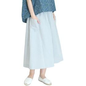サンバレー 綿麻シャンブレー・ギンガムスカート レディース グレー M 【SUN VALLEY】