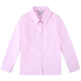 Bienzoe ガールズ スクール ユニフォーム オックスフォード 長袖ブラウス S(6-7 歳) ピンク
