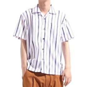 (Valletta/バレッタ)【Valletta】 無地 ストライプ柄半袖オープンカラーシャツ[171903] ストライプ柄 無地 開襟 開襟シャツ シンプル ビッグシャツ ワイ/メンズ ホワイト