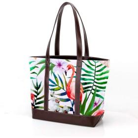 AyuStyle トートバッグ レディース 手提げバッグ フラミンゴ 可愛い 大容量 通勤 通学 バッグ ハンドバッグ ファスナー ユニセックス キャンバス puレザー 鞄 女性用