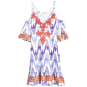 gawaga Women Cold Shoulder Floral Dress V-Neck Short Sleeves Mini Dresses Purple XS
