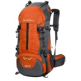 S&D 大容量 登山 リュック 45L+5L 60L 65L+5L 80L バックパック リュックサック 防水 ザック 旅行 バッグ スポーツ アウトドア キャンプ レインカバー付 (橙色, 45L+5L)