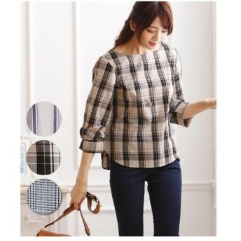レディース リボン風 デザイン 袖がかわいい 7分袖T ブラウス  M/L ニッセン