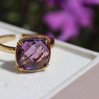 【宝石質/9 13号】quartz ring Amethyst アメジスト 天然石リング