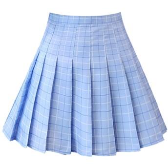 Dressystar(ドレッシースター) プリーツスカート ミニフレアスカート ハイウエスト 学院風 高校日系スカート女子高生 無地 チェック柄 ブルーグリッド Lサイズ
