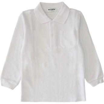 (オンスクール) OnSchool 3100 スクール ポロシャツ 長袖 キッズ 男の子 白 カノコ 吸水 速乾 綿混 通年 100 110 120 130 140 中国製 (100)