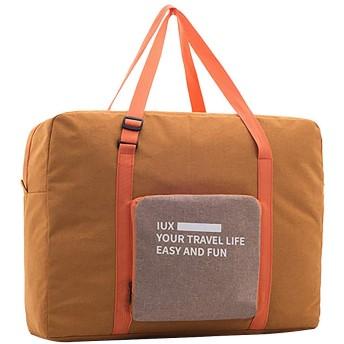 ハンドバッグ 荷物袋 大容量 トート バッグ 行李袋 荷物袋 折り畳み ボストンバッグ 短距離旅行バッグ フィットネス旅行バッグ 男性と女性の無地の大容量 収納袋 旅行 便利 グッズ (32CM41CM15.6CM, オレンジ)