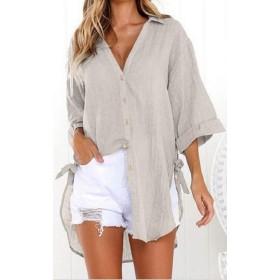 Sodossny-JP 女性のバギーVネックファッション非対称ヘムロングスリーブボタンフロントシャツ 2 S