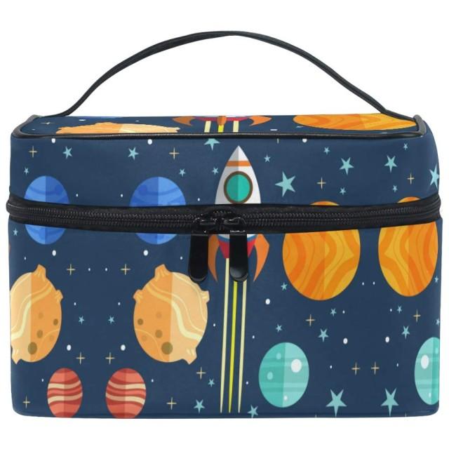 ユニバースギャラクシーロケット化粧品袋オーガナイザージッパー化粧バッグポーチトイレタリーケースガールレディース