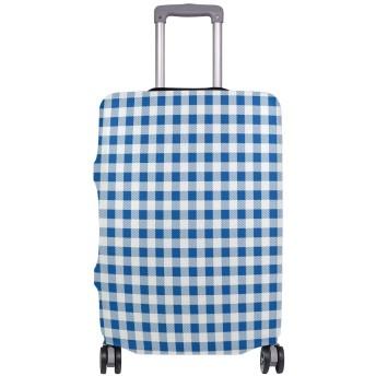 スーツケースカバー トランクカバー 防塵カバー 伸縮 ファスナー ラゲージカバー プリント かわいい おもしろい 旅行 S/M/L/XL サイズ かっこいい おしゃれ 洗える 耐久性 弾力性 チェック