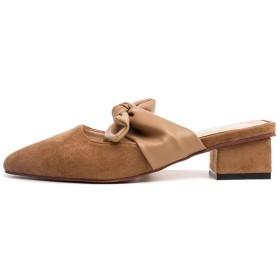 [リンゼ] レディース ミュール チャンキーヒール サンダル 歩きやすい 疲れない クッション 美脚 パンプス カジュアル デイリー おしゃれ シンプル 22.0cm シューズ ポインテッドトゥ コンフォート こむぎいろ 婦人靴 ジェントル風