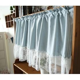 WPKIRA 1ピース北欧スタイルのコットンとリネンの縞模様の短いカーテン遮光ショートカーテン寝室用暗くする熱装飾ハーフカーテン用キッチンカフェキャビネットダストカーテン 1枚 130cm160cm