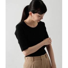 [ワークノットワーク] tシャツ 針抜きリブショートスリーブプルオーバー レディース BLACK FREE