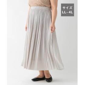 (studio CLIP/スタディオクリップ)ヴィンテージサテン消しプリーツスカート[WEB限定プラスサイズ]/ [.st](ドットエスティ)公式