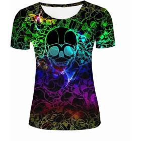 レディーズ 半袖 Tシャツ おしゃれ 3D プリント 銀河の頭蓋骨 柄 カジュアル トップス ゆったり 男女兼用 XL