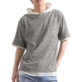 (Valletta/バレッタ)【Valletta】 ワッフルパーカーフェイクレイヤードランダムパイルTシャツ[c219419] Tシャツ Tパーカー パイル 無地 丈長 ロング/メンズ ブラック