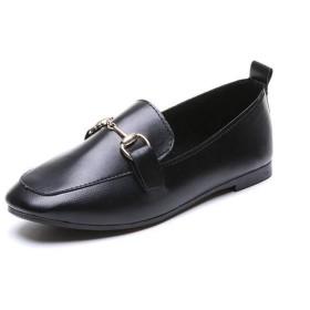 [Fuyichengk] 小さな革の靴の女性の2019年秋の新しいフラットボトムレディース作業靴野生の浅い口エンドウ豆シングルシューズ(ブラック)24.0cm