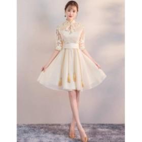 ウエディングドレス ミモレドレス ステージ衣装 プリンセス パーディードレス ミディアムワンピース 成人式 花嫁 忘年会 結婚式 ピアノ